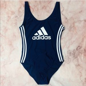 NWT Adidas Spell Out 3 Stripe Swimsuit Bodysuit
